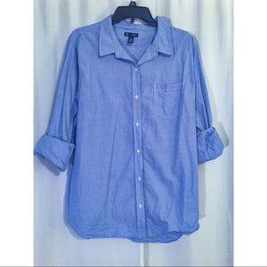 Blue pinstriped button-down shirt